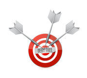 debt free target sign concept illustration Stock Photos