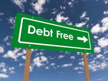 Debt free. Text 'Debt Free' on green highway style sign in white letters with bold white arrow pointing to the right, background of blue sky and clouds Royalty Free Stock Images