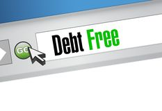 debt free web browser sign concept Stock Photos