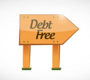 Debt free wood sign concept illustration Stock Photography
