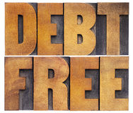 Debt free in wood type. Debt free - financial concept - isolated text in vintage letterpress wood type stock photography