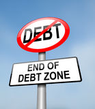 Debt free zone. stock photography