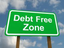 Debt Free Zone Road Sign Stock Image