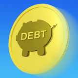 Debt Gold Coin Means Money Borrowed And Owed Stock Photo