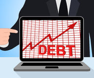 Debt Graph Chart Displays Increase Financial Indebted. Debt Graph Chart Displaying Increase Financial Indebted Stock Image