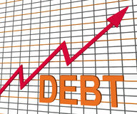 Debt Graph Chart Shows Increase Financial Indebted Stock Photo