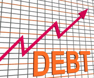 Debt Graph Chart Shows Increasing Financial Indebted Royalty Free Stock Photos