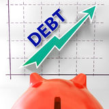 Debt Graph Means Money Due And Liabilities Royalty Free Stock Images