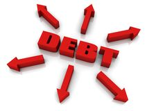Debt Growth. DEBT 3D text with arrows pointing outwards. Part of a series Royalty Free Stock Photography