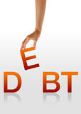 Debt - Hand. High resolution graphic of a hand holding the letter E from the word debt Stock Photography