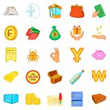 Debt icons set, cartoon style. Debt icons set. Cartoon set of 25 debt vector icons for web isolated on white background Royalty Free Stock Images