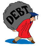 Debt. Illustration about heavy debt load after college Royalty Free Stock Image
