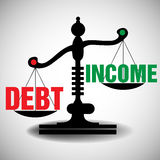 Debt and income scale. Black scale balancing the debt and the income. Debt and income theme Royalty Free Stock Image