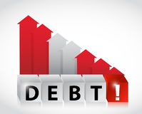 Debt increasing business graph falling Royalty Free Stock Photos