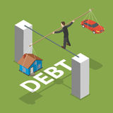 Debt isometric flat vector concept. Man walks by thin stick balancing over the abyss with a house and a car Stock Image