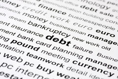 Debt keywords Royalty Free Stock Image