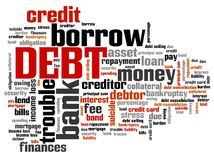 Debt. Keywords - finance issues and concepts tag cloud illustration. Word cloud collage concept Royalty Free Stock Images