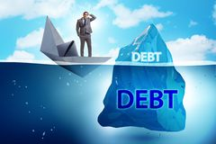 The debt and loan concept with hidden iceberg. Debt and loan concept with hidden iceberg stock images