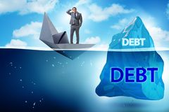 The debt and loan concept with hidden iceberg. Debt and loan concept with hidden iceberg stock photo