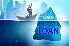 The debt and loan concept with hidden iceberg. Debt and loan concept with hidden iceberg stock photos