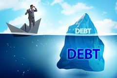 The debt and loan concept with hidden iceberg. Debt and loan concept with hidden iceberg royalty free stock photos