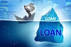 The debt and loan concept with hidden iceberg. Debt and loan concept with hidden iceberg royalty free stock photo