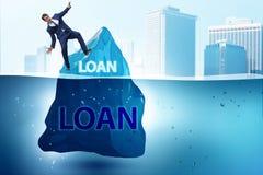 Debt and loan concept with hidden iceberg. The debt and loan concept with hidden iceberg royalty free stock photos