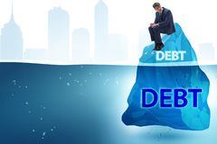 Debt and loan concept with hidden iceberg. The debt and loan concept with hidden iceberg royalty free stock photo