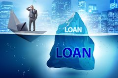 The debt and loan concept with hidden iceberg. Debt and loan concept with hidden iceberg royalty free stock image