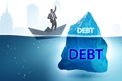 The debt and loan concept with hidden iceberg. Debt and loan concept with hidden iceberg royalty free stock photography