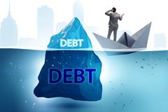 Debt and loan concept with hidden iceberg. The debt and loan concept with hidden iceberg stock image