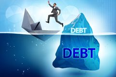 The debt and loan concept with hidden iceberg. Debt and loan concept with hidden iceberg stock photography