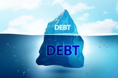 The debt and loan concept with iceberg - 3d rendering. Debt and loan concept with iceberg - 3d rendering royalty free stock image