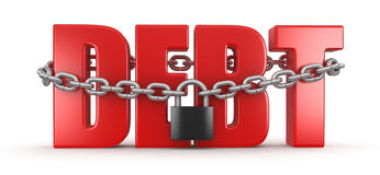 Debt and lock (clipping path included) Stock Images