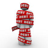 Debt Man Wrapped in Tape Budget Deficit. Debt word man wrapped in tape illustrating budget trouble, bankruptcy or financial shortfall trapping someone from Royalty Free Stock Photography
