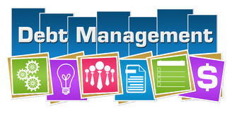 Debt Management Business Symbols Colorful Squares Stripes. Debt management concept image with text and related symbols Stock Image