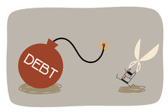 Debt management. Cartoon character of debt management concept Stock Image