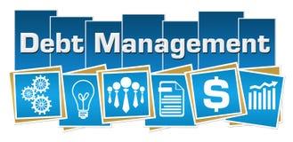 Debt Management Business Symbols Blue Squares Stripes. Debt management concept image with text and related symbols Stock Image