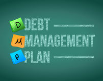 Debt management plan post illustration Stock Image