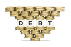 Debt Management Word DEBT on Unstable Stack of Gold Coins Stock Image