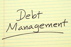Debt Management On A Yellow Legal Pad. The word `Debt Management` underlined on a yellow legal pad Stock Image