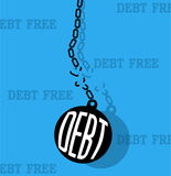 Debt with metal ball and chain break Stock Image