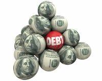 Debt Money Deficit Owed Loan Borrow Ball Pyramid. 3d Illustration Royalty Free Stock Photo