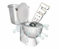 Debt Money Owed Bills Spending Flush Money Toilet Royalty Free Stock Image