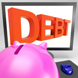 Debt On Monitor Showing Financial Troubles Stock Photo