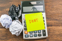 Debt on notepad & calculator Royalty Free Stock Photo