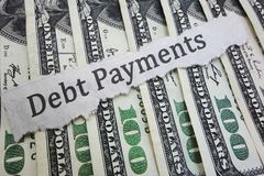 Debt Payment news headline Royalty Free Stock Images