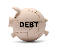 Debt Pig. Piggy Bank Cracking From Debt Isolated on White Background Stock Photography
