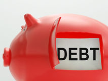 Debt Piggy Bank Means Arrears And Money Owed Royalty Free Stock Photography