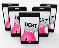 Debt Piggy Bank Means Loan Arrears And Paying Off Stock Images